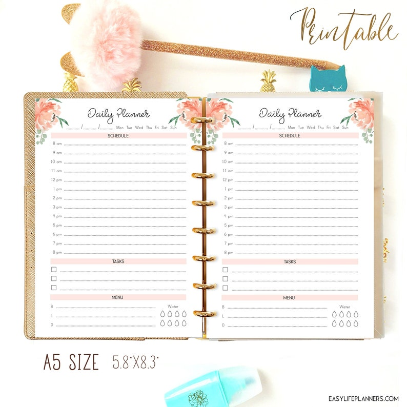Daily Planner Printable A5 Planner Inserts for Filofax A5 image 0