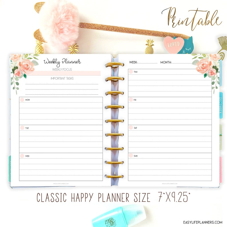 Weekly Planner Pages made to fit Classic Happy Planner Lined image 0