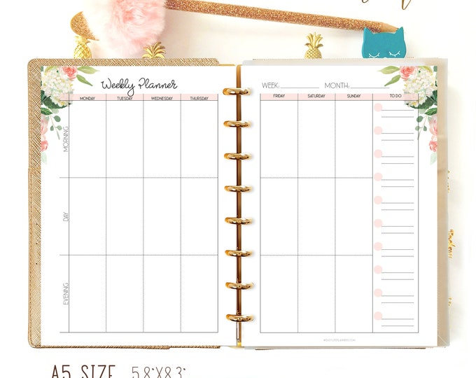 Weekly Planner Pages, Printable Filofax A5 Insert, Vertical wo2p