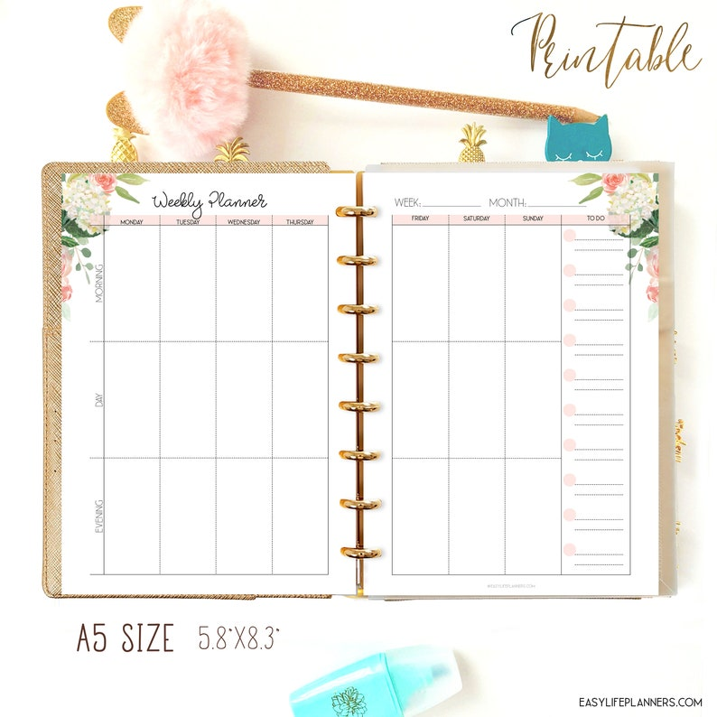 Weekly Planner Pages Printable Filofax A5 Insert Vertical image 0