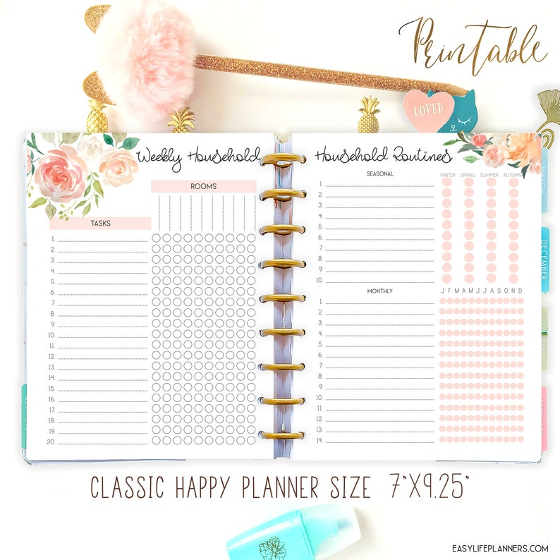 Household Binder Pages Happy Planner Printable Inserts image 0
