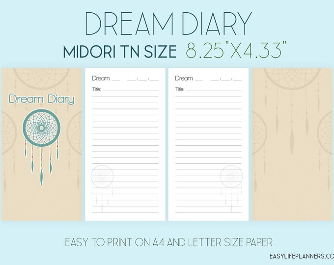 Midori Travellers Notebook Inserts, Dream Diary, Midori Printable Planner. Instant Download.