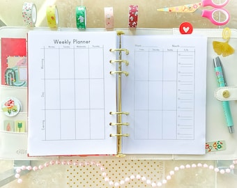 WEEKLY PLANNER A5 Printable PDF Filofax Inserts Undated Weekly Organizer Inserts Week at a Glance Week on Two Pages Kikkik.
