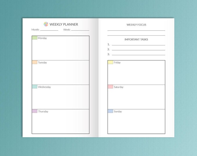 Bullet Journal Printable TN POCKET Size 3.5x5.5 Weekly Planner Field Notes Fits FoxyFix Weekly Goals Travelers Notebook Weekly Inserts PDf