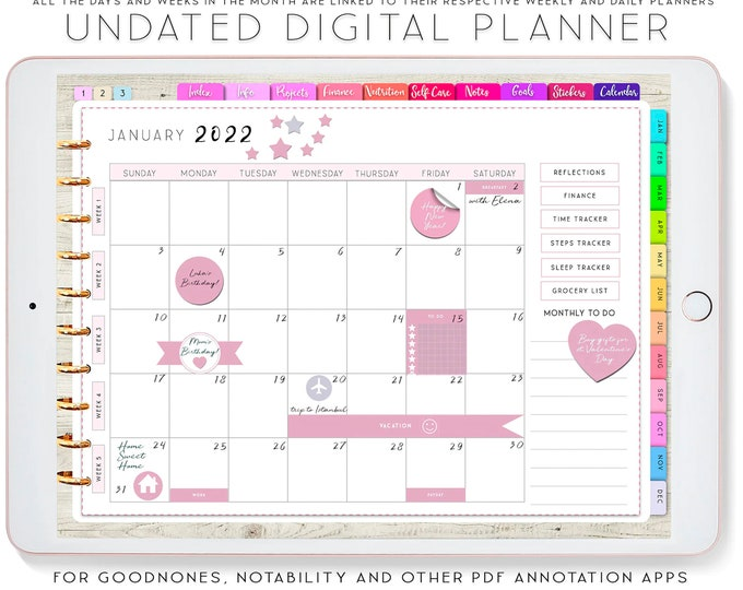 Undated Digital Planner for iPad, Goodnotes Planner, Notability Planner, Digital planning, Recipe book template, Budget Planner