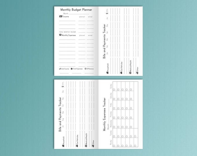 Monthly Budget Field Notes Expense Tracker Monthly Pocket Expense Log Traveler's Notebook Inserts Printable 3.5 x 5.5 Bills Payment FoxyFix