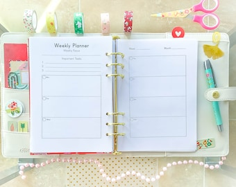 WEEKLY PLANNER Printable A5 Filofax Inserts, Kikki K Large Insert, Week on two Pages, Schedule Organizer, Weekly To Do.