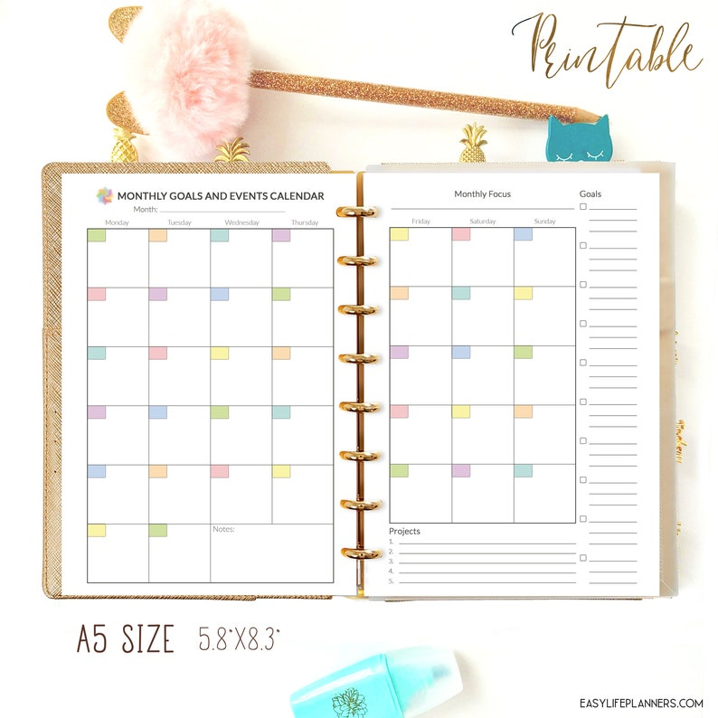 A5 Planner Inserts Monthly Planner Printable PDF Monthly image 0