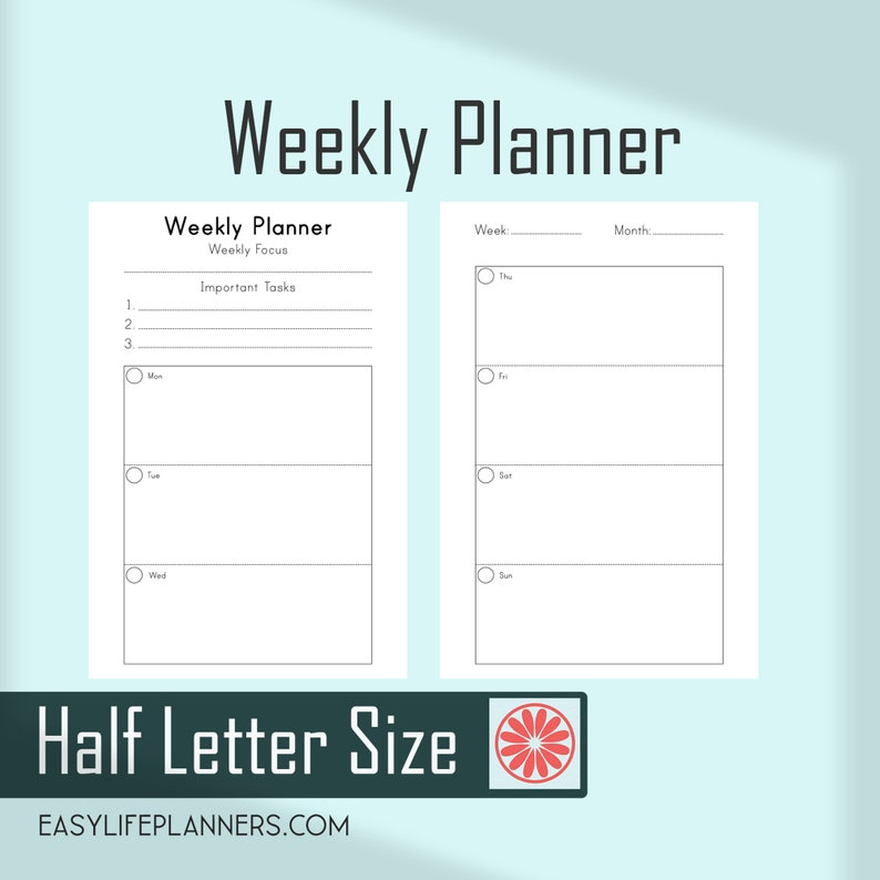 graphic regarding Weekly Planner Printables identify Weekly Planner Webpages, 7 days upon 2 Web pages, Printable 50 % Sizing Web pages Filofax Refills