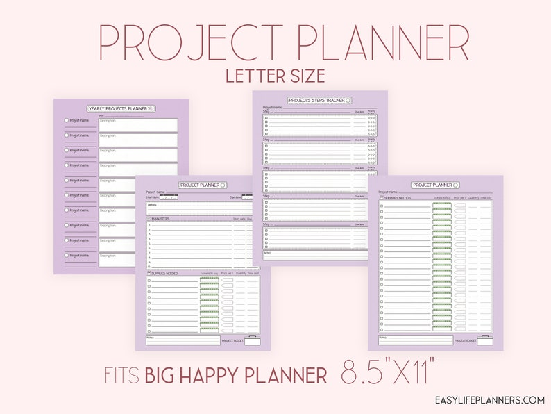 Project Planner Big Happy Planner Printable 8.5 x 11 Purple image 0