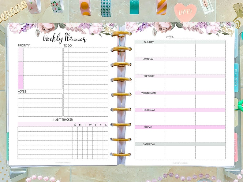 Weekly Planner Pages made to fit Classic Happy Planner Inserts image 0
