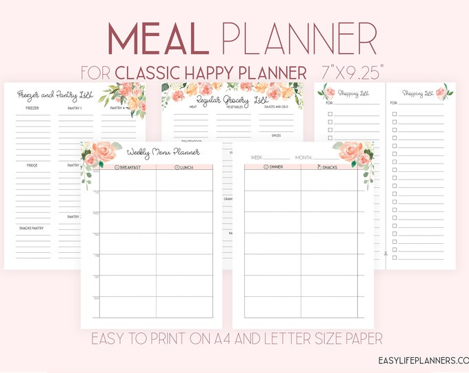 Weekly Meal Plan made to fit Happy Planner Inserts Printable, Meal Planner Printable