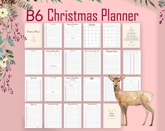 Christmas Planner Kit, B6 TN Inserts, B6 Printable Inserts, Printable tn Inserts,