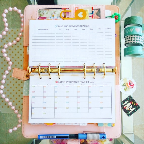 budget planner personal filofax inserts 3 7 x 6 7 inches etsy