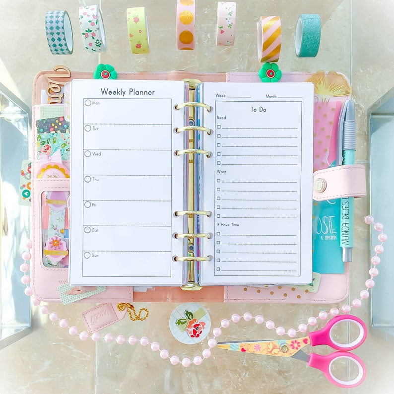 WEEKLY PLANNER Personal Size Inserts 3.7 x 6.7 Week At A image 1