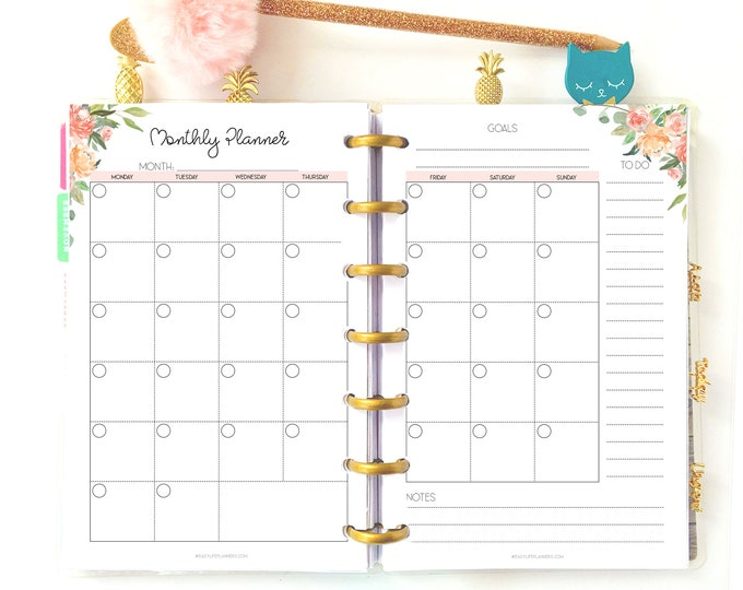 Monthly Planner for Mini Happy Planner Printables, Month On Two Pages