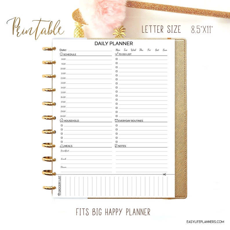 Daily Planner Pages made to fit for Big Happy Planner Inserts image 0