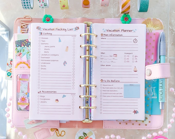 """VACATION Planner Personal Size (3.7""""x6.7"""") Gift For Her Retro Packing, Shopping List Printable pdf. Travel organizer Instant Download"""
