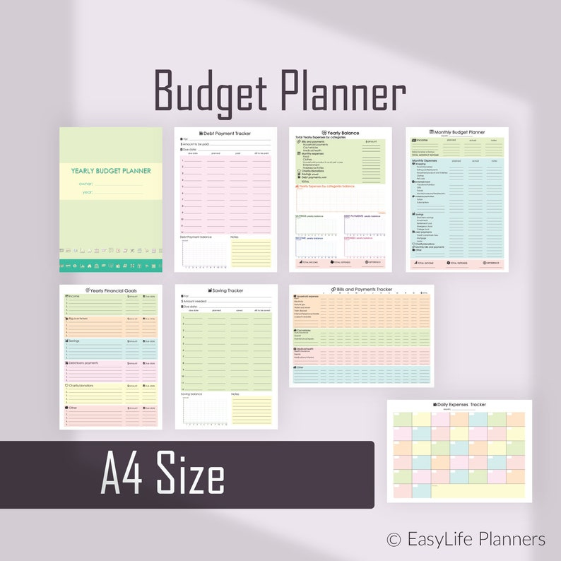 Financial Planner Monthly Budget Planner A4 Binder Inserts image 0