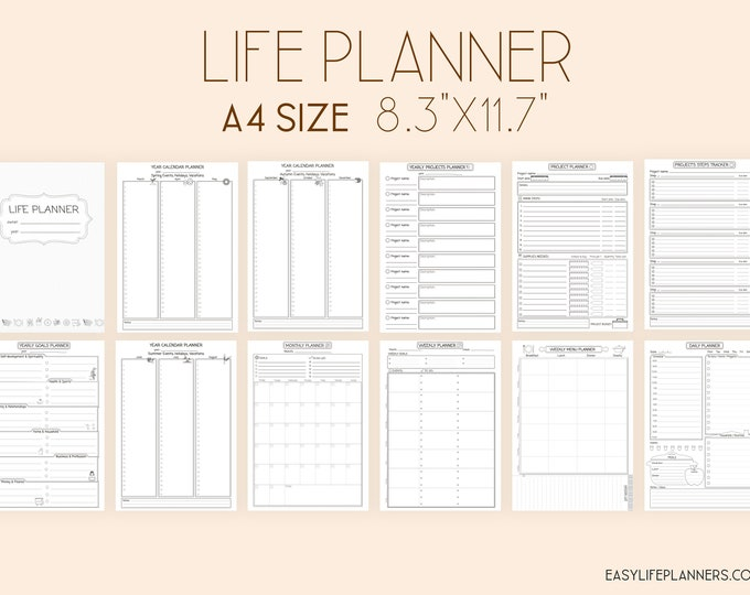 Life Organizer, Weekly Planner Pages, MO1P, Daily Planner 2021