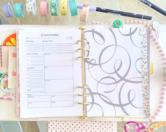Filofax A5 Daily Planner Printable A5 Inserts Daily Agenda Water Checklist Daily Menu Daily Household Daily Tasks