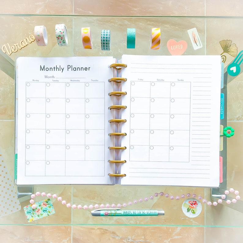 Happy Planner Monthly Inserts Printable Inserts Undated PDF image 0