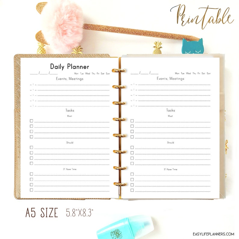 Daily Planner A5 Planner Refills for Filofax A5 Refills image 0