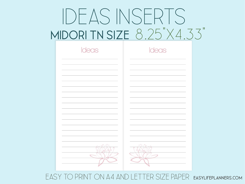 graphic relating to Midori Insert Printable identified as Midori Increase Printable PDF Strategies 8.25 x4.33 Refill Satisfies
