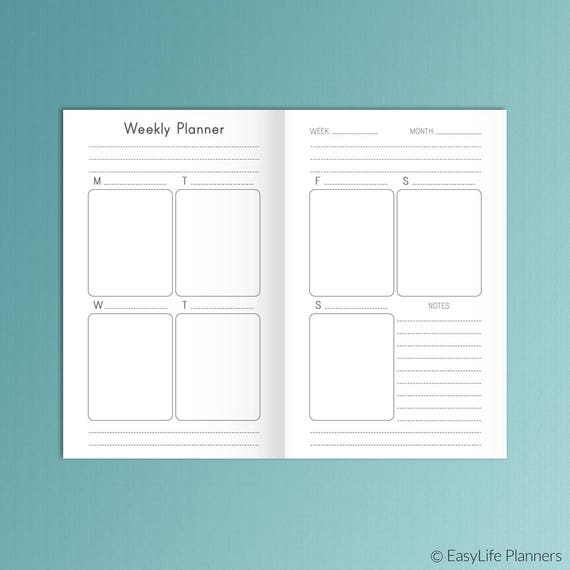 Weekly Planner Bullet Journal Field Notes Tn Pocket Size Etsy