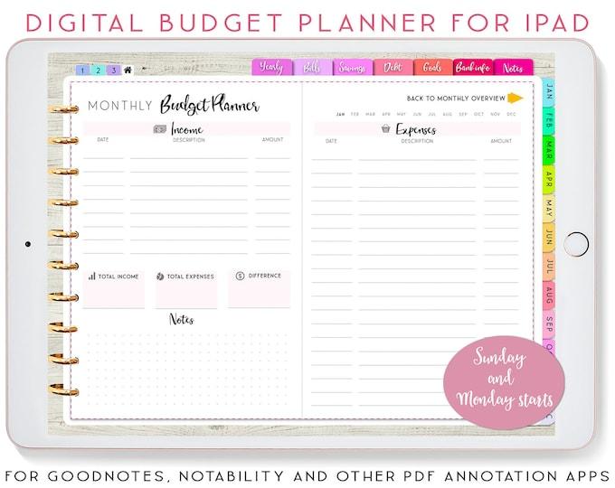 Digital Planner, Goodnotes Planner, iPad Planner, Goodnotes Template, Notability Planner, Finance Planner, Budget Planner