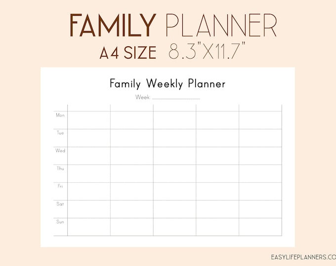 Family Weekly Planner, To Do list Printable, Binder Inserts, Wo1P Planner 2021