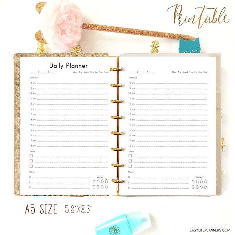 Daily Hourly Planner for Filofax A5 Inserts A5 planner image 0