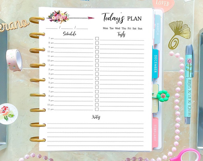 Daily Planner Insert Made to Fit Happy Planner Printable Insert Daily Schedule