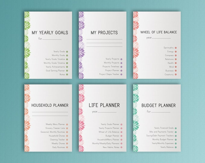 LIFE PLANNER Printable Ultimate Life Binder A4 Size Home Management Inserts Daily Weekly Monthly Project Budget Inserts. Instant Download