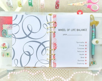 LIFE BALANCE WHEEL Half Letter Size Printable Filofax Inserts organizer pdf Wheel of Life Balance Template. Instant Download 4 pages