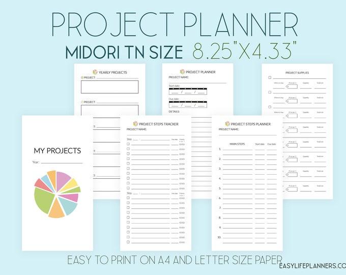Midori Printable TN Inserts, Project Planner, Midori Taveler's Notebook, Productivity Planner