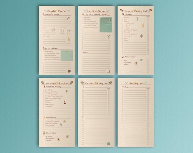 Vacation Planner for Midori Travel Journal Travelers Notebook Midori Accessories Printable Planner Bullet Journal Fauxdori Midori Insert