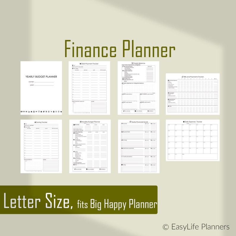 Financial Planner Big Happy Planner Budget Printable Letter image 0
