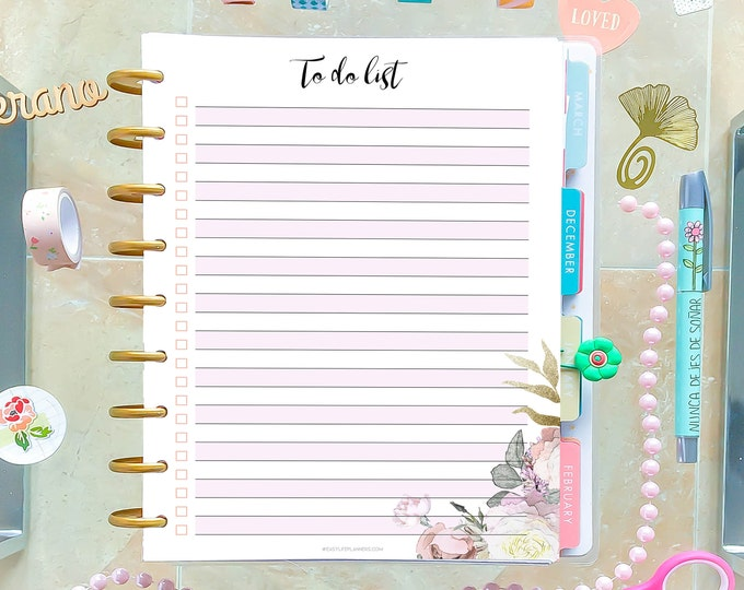 To Do List Printable Agenda made to fit Happy Planner Insert and Erin Condren Inserts