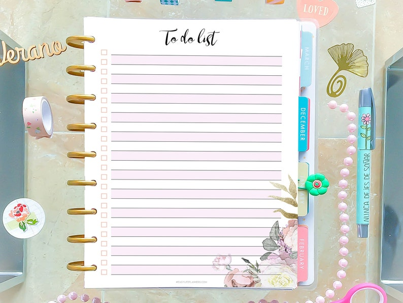 To Do List Printable Agenda made to fit Happy Planner Insert image 0