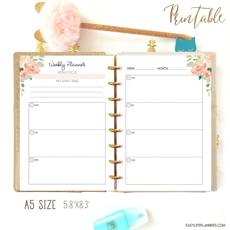 Weekly Planner Pages Filofax A5 Insert Weekly Planner A5 image 0