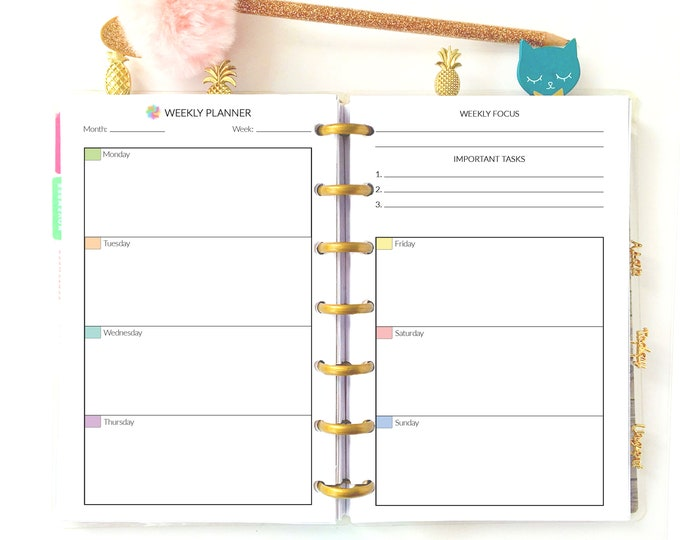Weekly Inserts for Mini Happy Planner Week Planner Week on Two Pages Printable