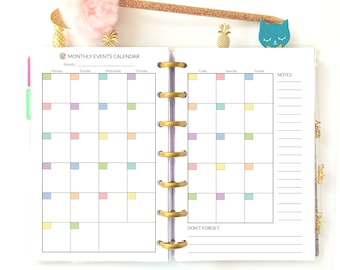 Mini Happy Planner Monthly Mini Mambi Insert Month at a Glance Monthly Planner Printable
