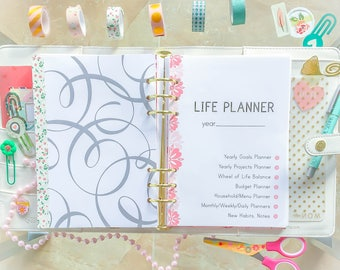 LIFE PLANNER A5 Planner Inserts 2018 Daily Planner Home Management Filofax Printable A5 5.8 x 8.3 Sunday and Monday start planners PDF