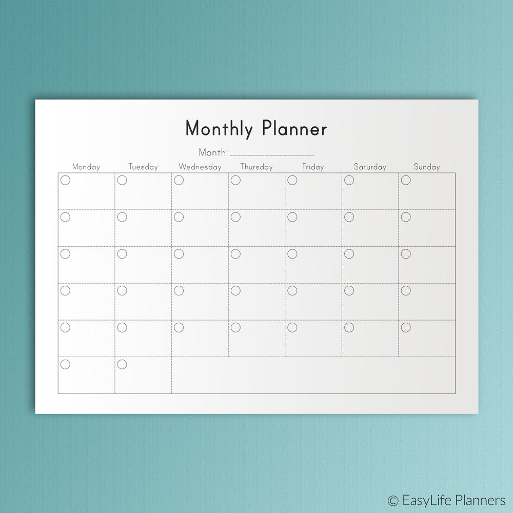 MONTHLY PLANNER Printable A4 Inserts Undated Calendar PDF