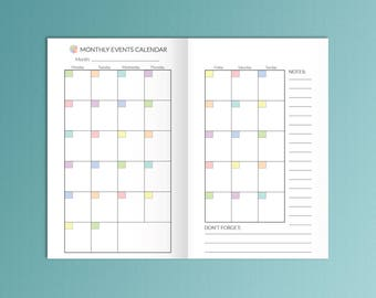 TN POCKET Size 3.5x5.5 Monthly Planner  Bullet Journal Printable  Field Notes Fits FoxyFix Monthly Goals Travelers Notebook Monthly Inserts