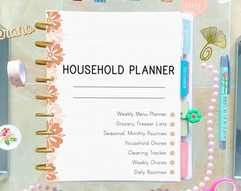 Household Planner for Happy Planner Inserts Cleaning Checklist Cleaning Schedule Mom Planner Printable Made to fit Erin Condren Insert