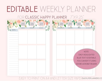 2021 Weekly Planner Pages Editable Planner, made to fit Happy Planner Template