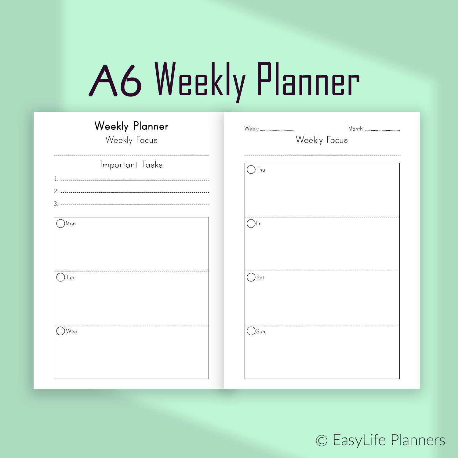 image relating to Weekly Planner Pages referred to as A6 planner inserts, Weekly Planner Webpages, 7 days Upon 2 Internet pages