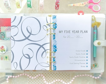 5 YEAR Plan A5 Printable. Filofax A5 inserts Health Relationships Business Self development Five Years Planning . 24 PAGES